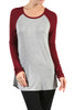 Long Sleeve Colorblocked Baseball Tunic Tee - BodiLove | 30% Off First Order - 3 | Wine & Gray