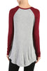 Long Sleeve Colorblocked Baseball Tunic Tee - BodiLove | 30% Off First Order - 4 | Wine & Gray