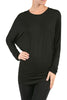 Long Dolman Sleeve Boat Neck Tunic Top - BodiLove | 30% Off First Order - 1 | Dark Black