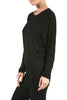 Long Dolman Sleeve Boat Neck Tunic Top - BodiLove | 30% Off First Order - 2 | Dark Black