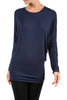 Long Dolman Sleeve Boat Neck Tunic Top - BodiLove | 30% Off First Order - 6 | Navy