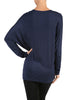 Long Dolman Sleeve Boat Neck Tunic Top - BodiLove | 30% Off First Order - 7 | Navy