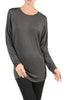 Long Dolman Sleeve Boat Neck Tunic Top - BodiLove | 30% Off First Order - 8 | Dark Gray