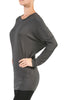 Long Dolman Sleeve Boat Neck Tunic Top - BodiLove | 30% Off First Order - 10 | Dark Gray