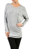 Long Dolman Sleeve Boat Neck Tunic Top - BodiLove | 30% Off First Order - 14 | Light Gray