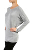 Long Dolman Sleeve Boat Neck Tunic Top - BodiLove | 30% Off First Order - 16 | Light Gray