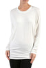 Long Dolman Sleeve Boat Neck Tunic Top - BodiLove | 30% Off First Order - 4 | Off White