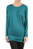 Long Dolman Sleeve Boat Neck Tunic Top - BodiLove | 30% Off First Order - 11 | Teal