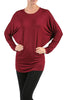 Long Dolman Sleeve Boat Neck Tunic Top - BodiLove | 30% Off First Order - 17 | Wine