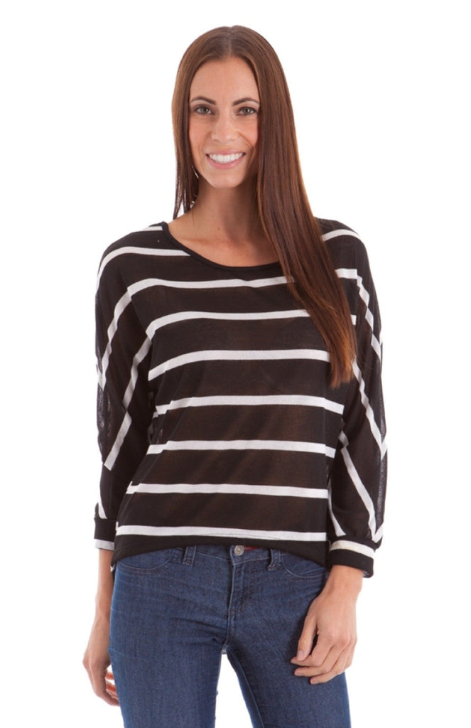 Stripe Lace Back Dolman Top - BodiLove | 30% Off First Order  - 1