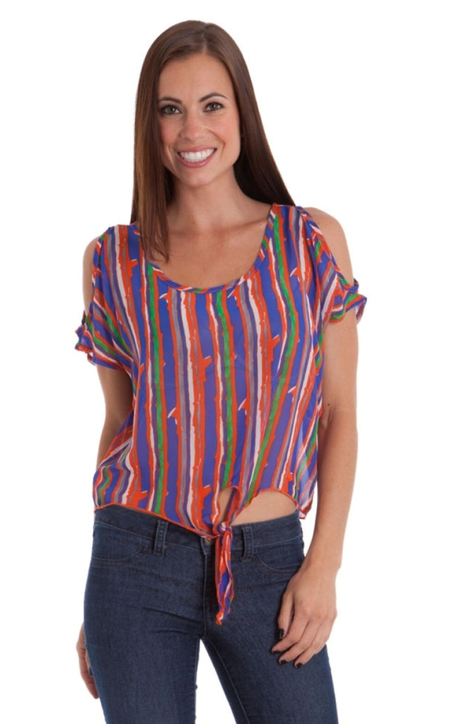 Spackle Stripe Waist Tie Shoulder Cut-Out Top - BodiLove | 30% Off First Order  - 1