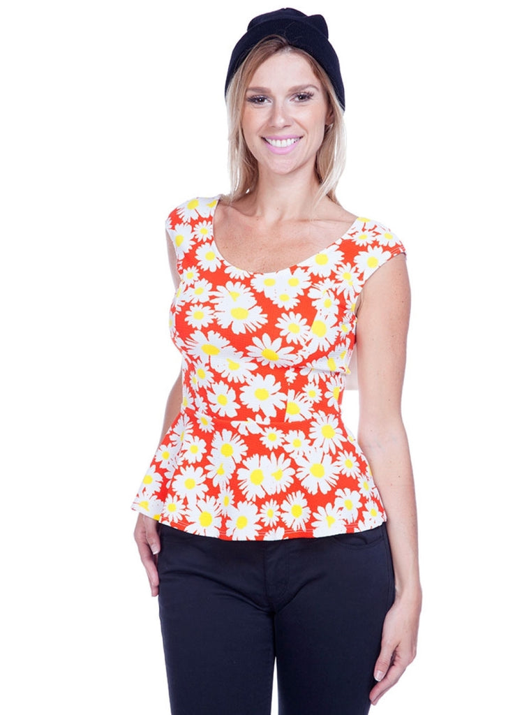 Cap Sleeve Daisy Print Peplum Top W/ Back Bow - BodiLove | 30% Off First Order  - 3