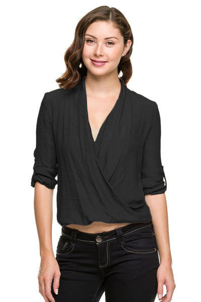 3/4 Sleeve Surplice Draped Front Blouse - BodiLove | 30% Off First Order  - 1