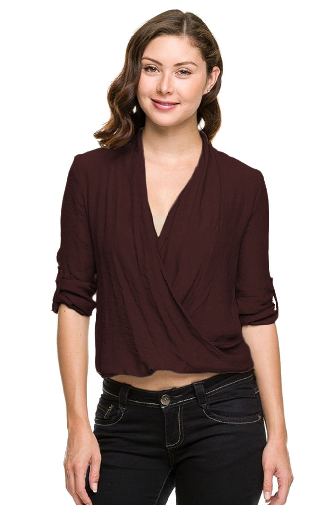 3/4 Sleeve Surplice Draped Front Blouse - BodiLove | 30% Off First Order  - 7