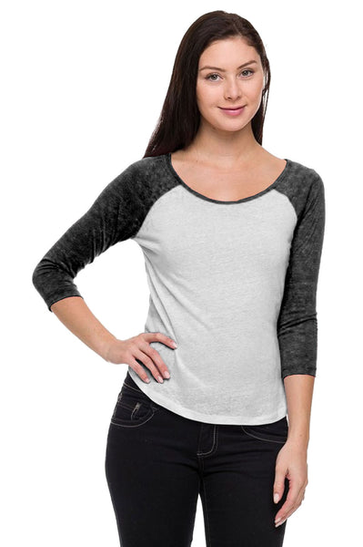 3/4 Sleeve Two Tone Baseball Tee - BodiLove | 30% Off First Order  - 1