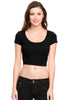 Solid Cap Sleeve Slim Fit Crop Top - BodiLove | 30% Off First Order  - 1