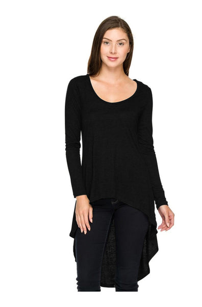 Long Sleeve Hi-Low Knit Tunic Top - BodiLove | 30% Off First Order  - 1