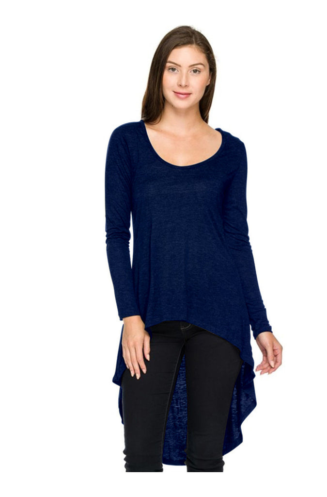 Long Sleeve Hi-Low Knit Tunic Top - BodiLove | 30% Off First Order  - 3