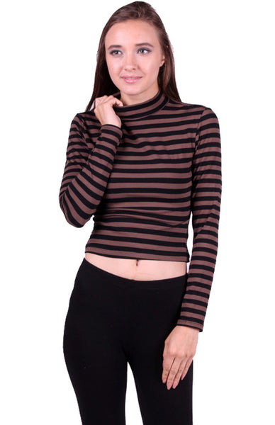 Long Sleeve Mock Turtleneck Crop Top - BodiLove | 30% Off First Order  - 1