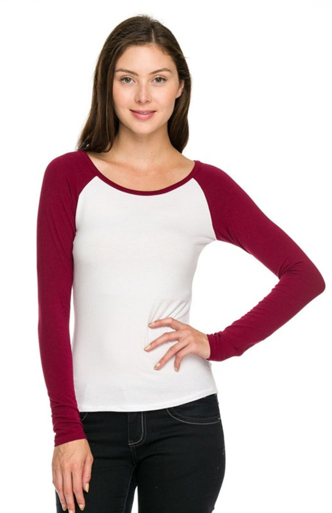 Long Sleeve Two Tone Baseball Tee - BodiLove | 30% Off First Order  - 4