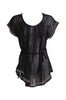 Self-Tie Sheer Chiffon Tunic Blouse  | 30% Off First Order | Black