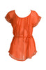 Self-Tie Sheer Chiffon Tunic Blouse  | 30% Off First Order | Orange
