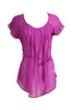 Self-Tie Sheer Chiffon Tunic Blouse  | 30% Off First Order | Purple