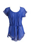 Self-Tie Sheer Chiffon Tunic Blouse  | 30% Off First Order | Royal Blue