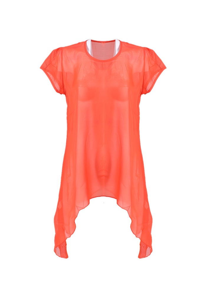 Sheer Chiffon Tunic Top with Flare Hem Line - BodiLove | 30% Off First Order  - 7
