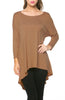 3/4 Dolman Sleeve Hi-Low Tunic - BodiLove | 30% Off First Order - 148