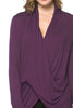 Long Sleeve Criss Cross Drape Front Top - BodiLove | 30% Off First Order - 30 | Dark Purple