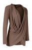 Long Sleeve Criss Cross Drape Front Top - BodiLove | 30% Off First Order - 34 | Mocha