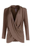 Long Sleeve Criss Cross Drape Front Top - BodiLove | 30% Off First Order - 36 | Mocha
