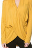 Long Sleeve Criss Cross Drape Front Top - BodiLove | 30% Off First Order - 39 | Mustard