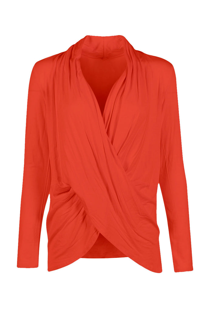Long Sleeve Criss Cross Drape Front Top - BodiLove | 30% Off First Order - 40 | Rust