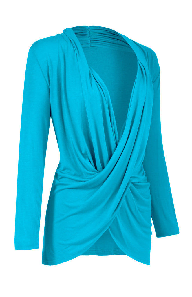 Long Sleeve Criss Cross Drape Front Top - BodiLove | 30% Off First Order  - 25