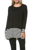 Long Dolman Sleeve Tunic W/ Striped Hem - BodiLove | 30% Off First Order  - 1