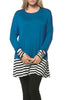 Long Dolman Sleeve Tunic W/ Striped Hem - BodiLove | 30% Off First Order  - 4