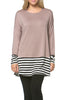 Long Dolman Sleeve Tunic W/ Striped Hem - BodiLove | 30% Off First Order  - 8