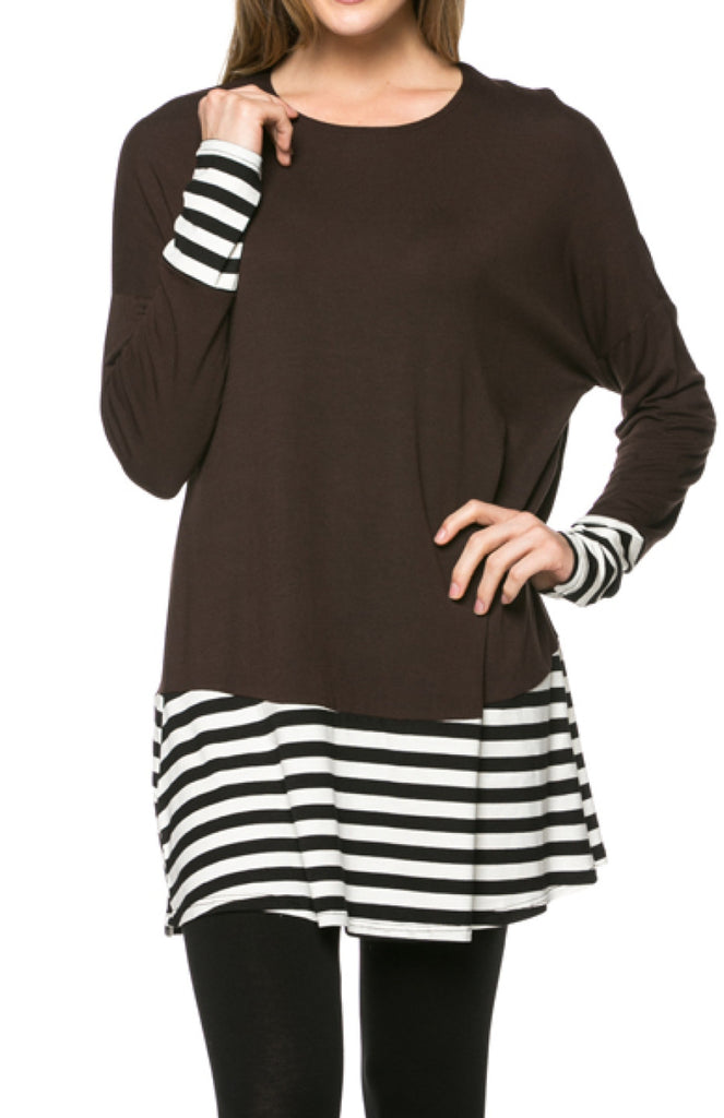 Long Dolman Sleeve Tunic W/ Striped Hem - BodiLove | 30% Off First Order  - 21