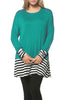 Long Dolman Sleeve Tunic W/ Striped Hem - BodiLove | 30% Off First Order  - 40