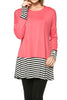 Long Dolman Sleeve Tunic W/ Striped Hem - BodiLove | 30% Off First Order  - 58