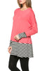 Long Dolman Sleeve Tunic W/ Striped Hem - BodiLove | 30% Off First Order  - 60
