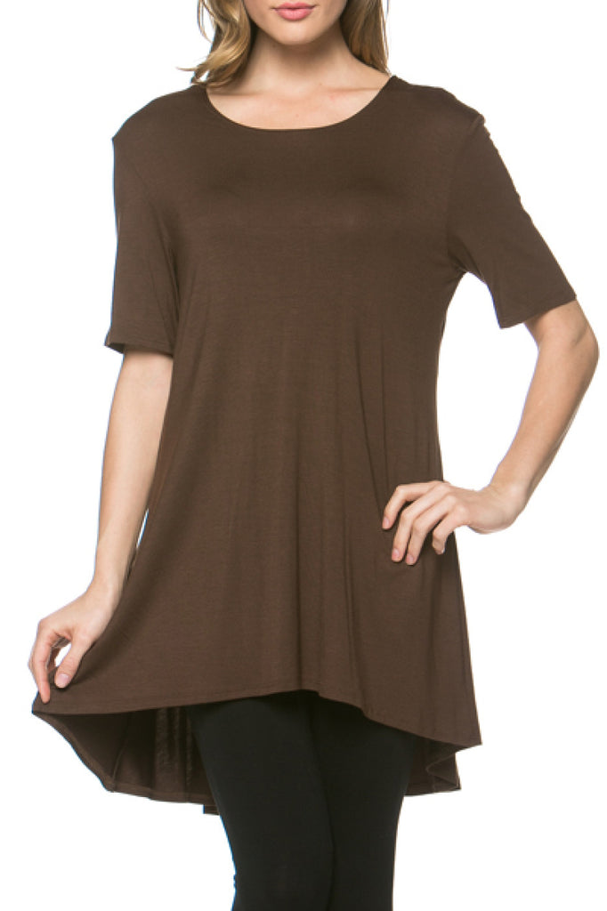 Short Sleeve Basic Hi-Low Tunic Top - BodiLove | 30% Off First Order  - 5