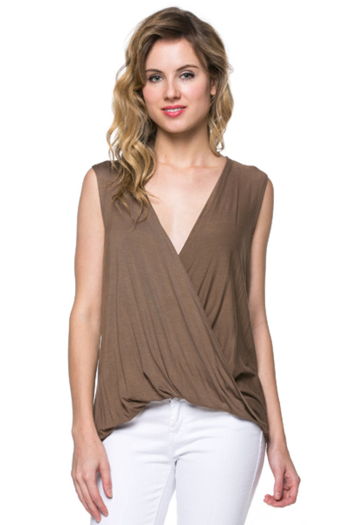 Sleeveless Draped Surplice V-Neck Top - BodiLove | 30% Off First Order  - 10
