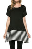 Short Sleeve Knit Tunic W/ Striped Hem - BodiLove | 30% Off First Order  - 1
