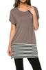 Short Sleeve Knit Tunic W/ Striped Hem - BodiLove | 30% Off First Order  - 4