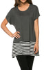 Short Sleeve Knit Tunic W/ Striped Hem - BodiLove | 30% Off First Order  - 7