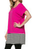 Short Sleeve Knit Tunic W/ Striped Hem - BodiLove | 30% Off First Order  - 12
