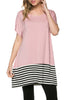 Short Sleeve Knit Tunic W/ Striped Hem - BodiLove | 30% Off First Order  - 13